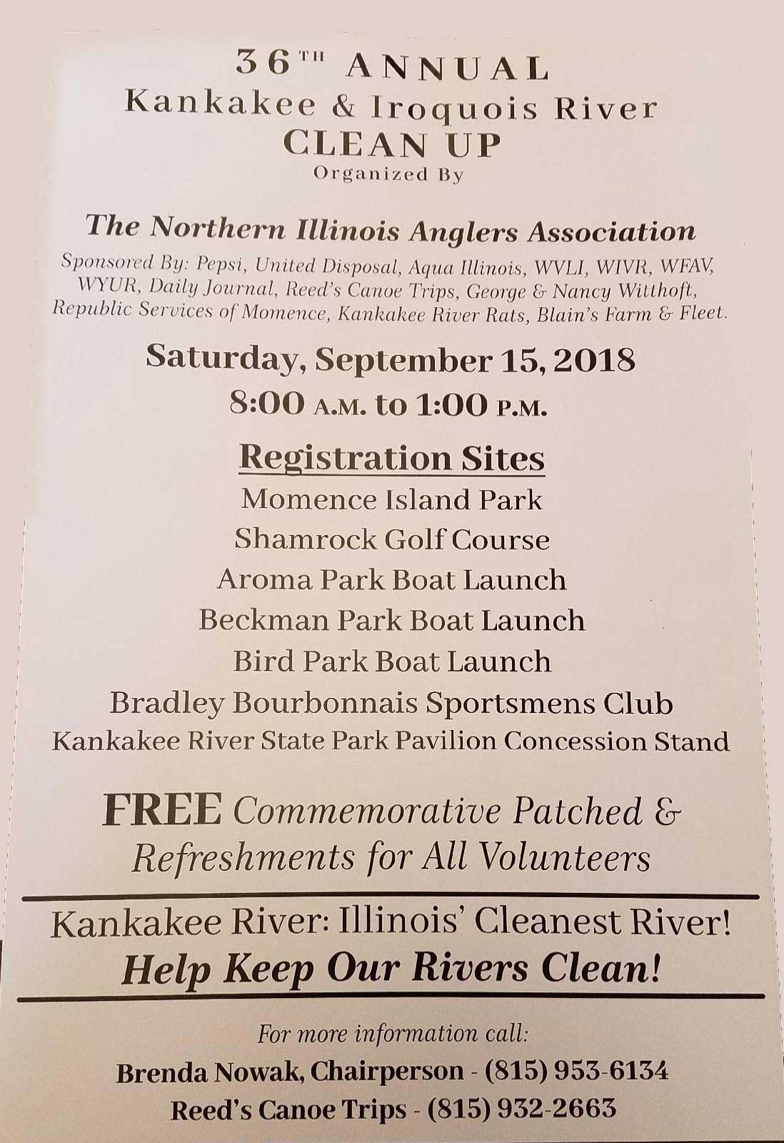 36TH ANNUAL KANKAKEE & IROQUOIS RIVER CLEAN UP